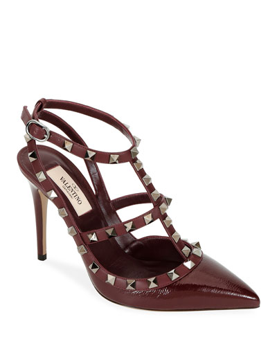 Rockstud Caged Ankle-Strap Pumps