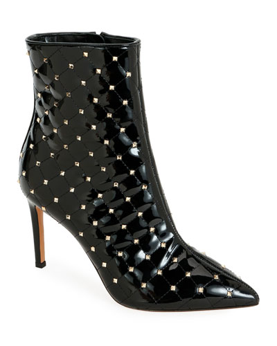Rockstud Spike Quilted Patent Booties