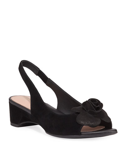 Neva Suede Demi-Wedge Flower Sandals