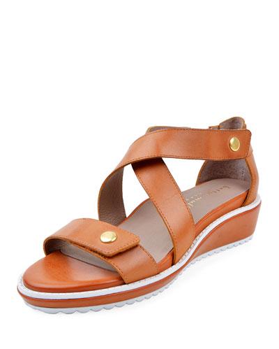Tobi Leather Demi-Wedge Sandals, Chili