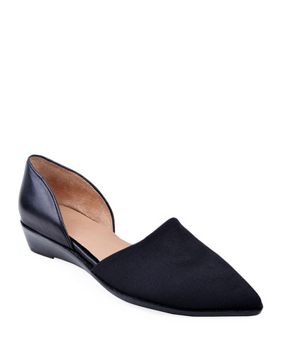 Cage Pointed-Toe Demi-Wedge Flats