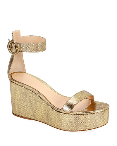 Metallic Leather Ankle-Strap Wedge Sandals