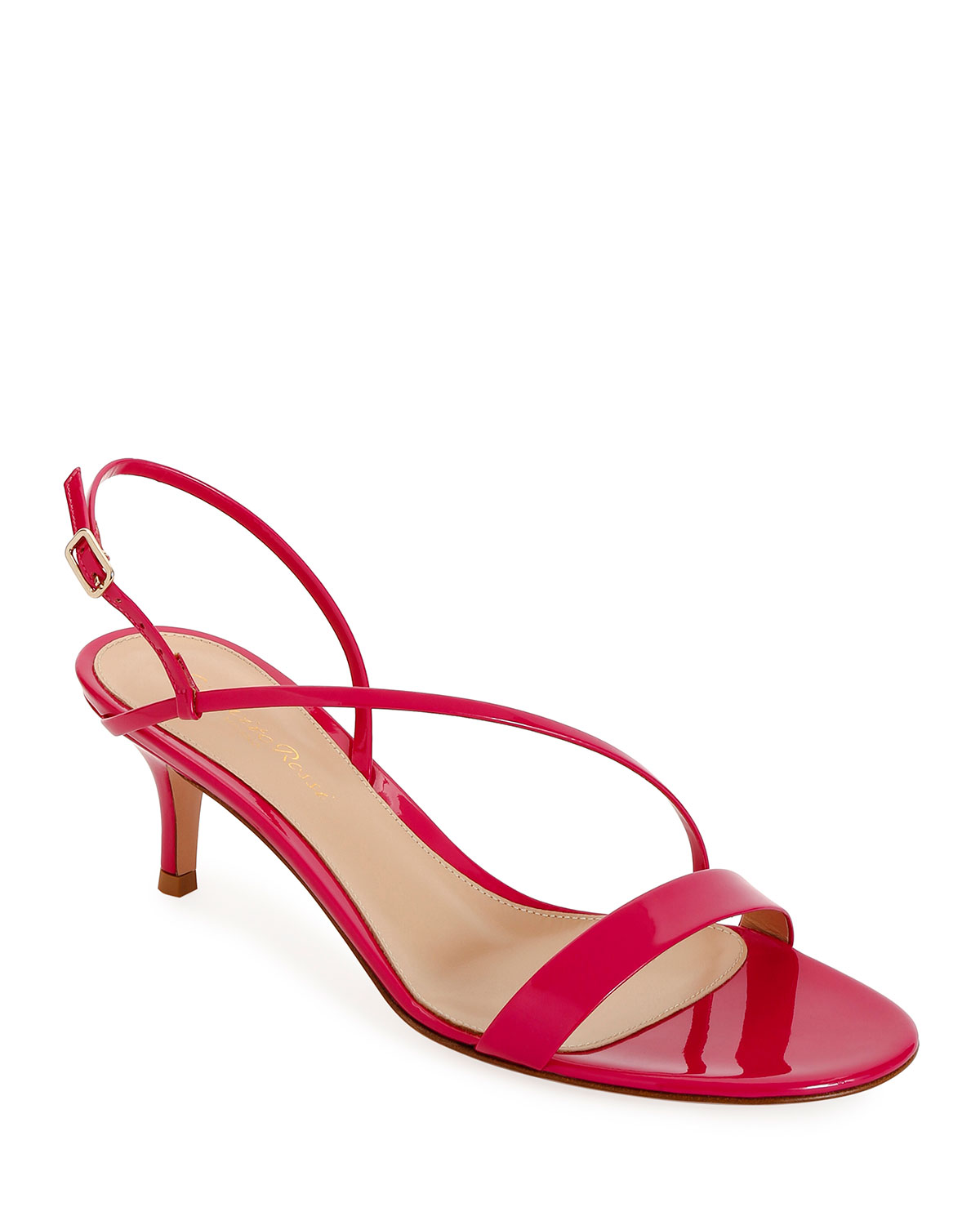 Strappy Low-Heel Patent Sandals