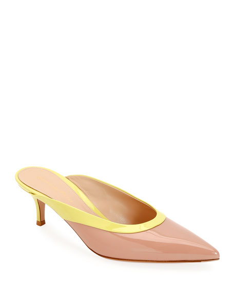 Gianvito Rossi Two-Tone Patent Leather Mules
