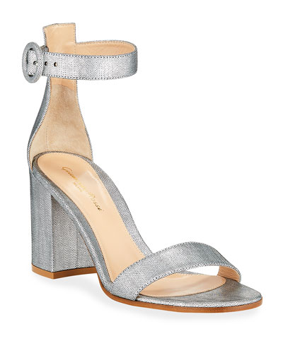 Brushed Ankle-Strap Sandals