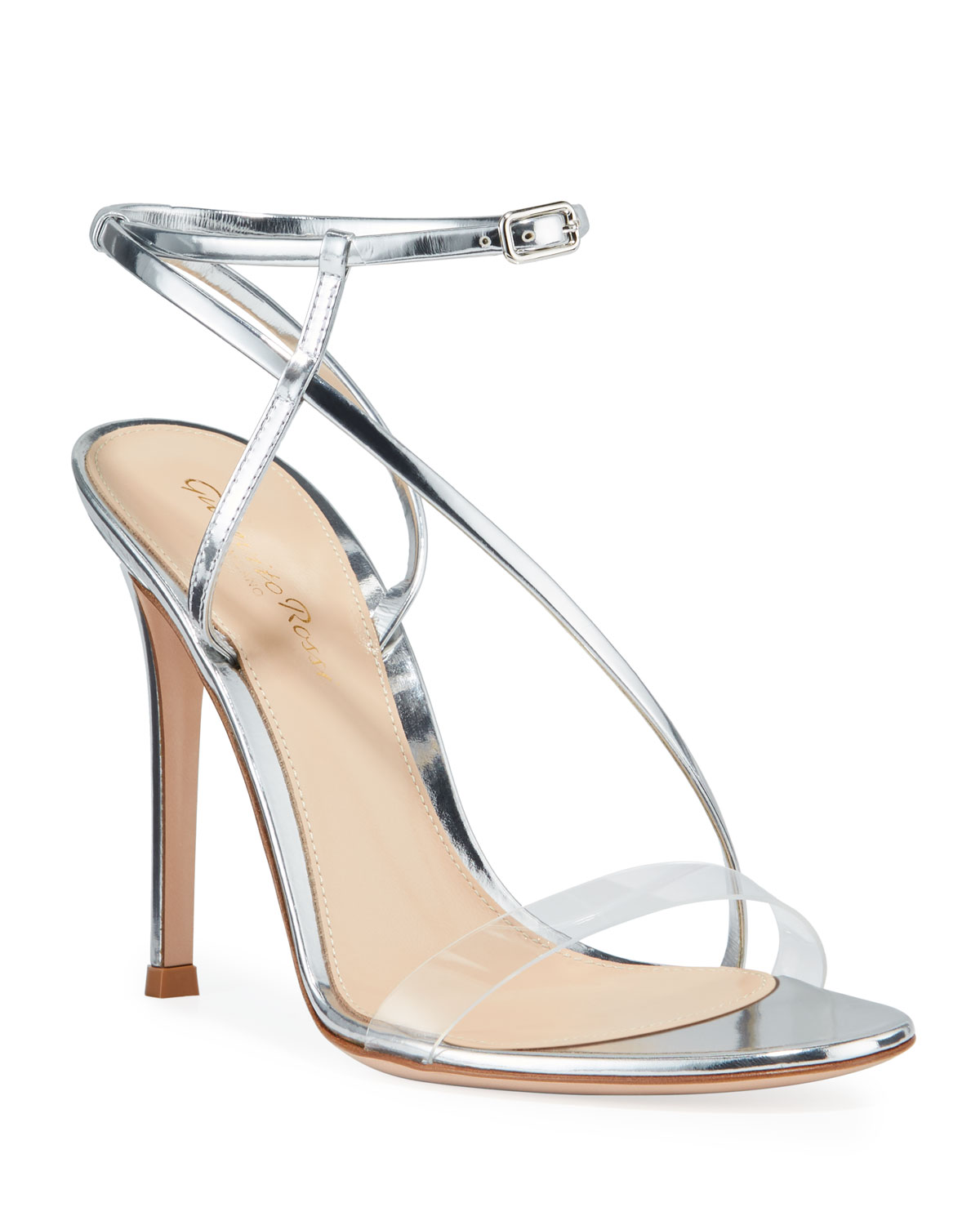 Metallic Clear-Strap Asymmetric Sandals