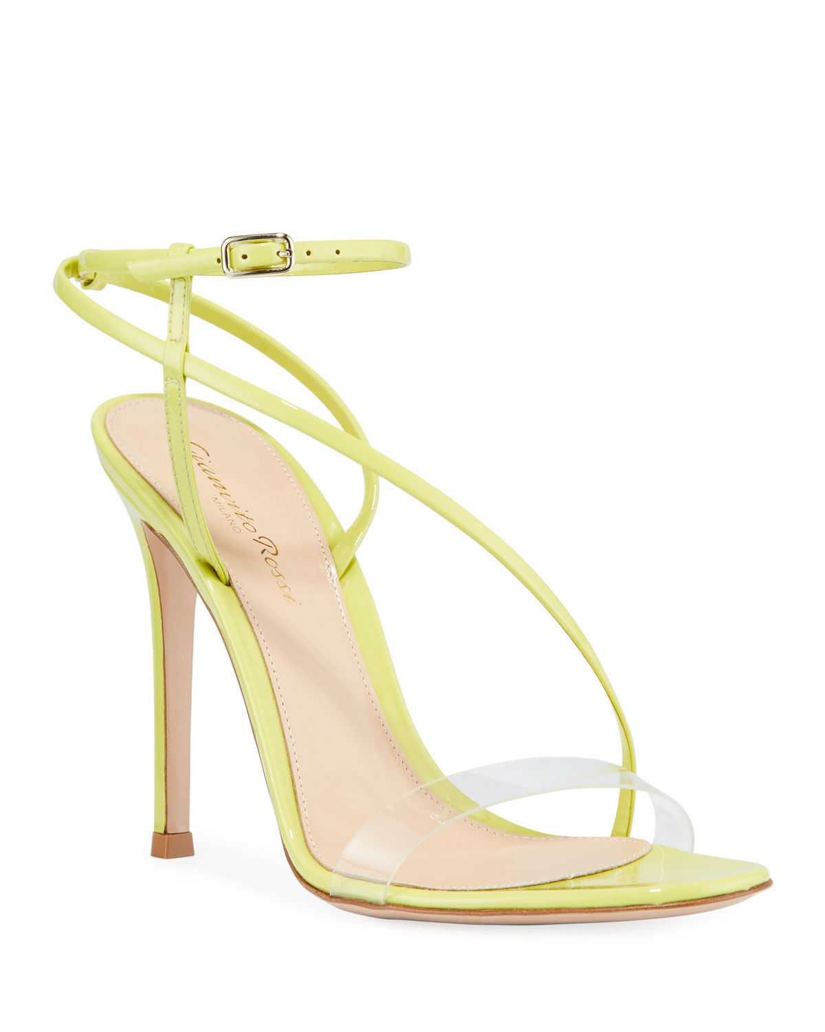 Patent Clear-Strap Asymmetric Sandals