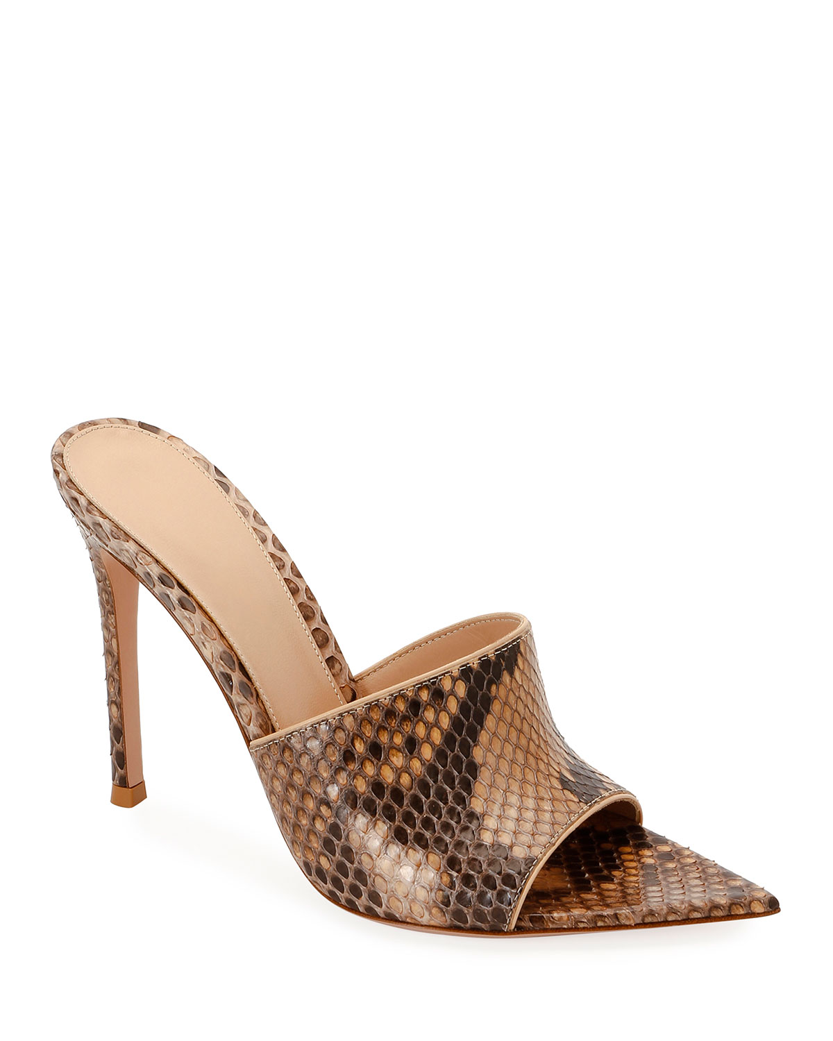 Pointed Python High-Heel Slide Sandals