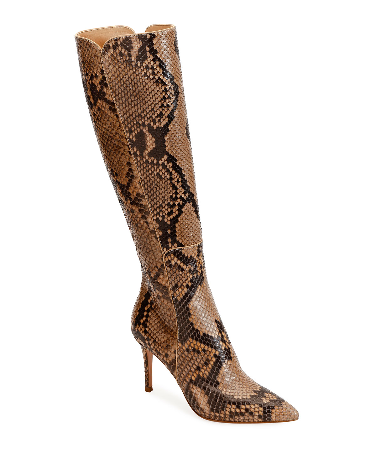 Python Pointed-Toe Tall Boots