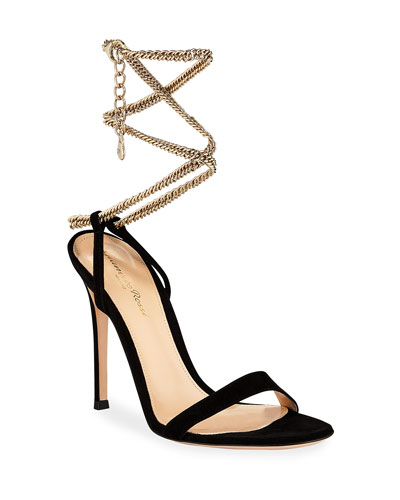 Suede Sandals with Ankle Chain, Black