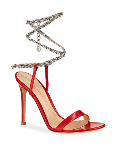 Leather Sandals with Ankle Chain, Red