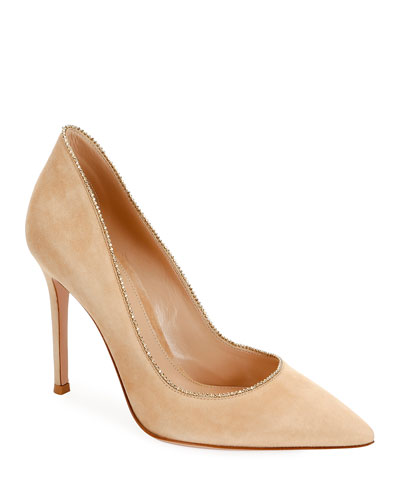 Beaded-Trim Suede High-Back Pumps