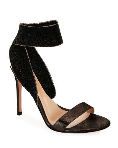 Metallic Suede Ankle-Wrap Sandals