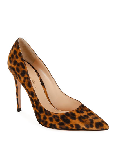 Leopard-Print Suede Stiletto Pumps