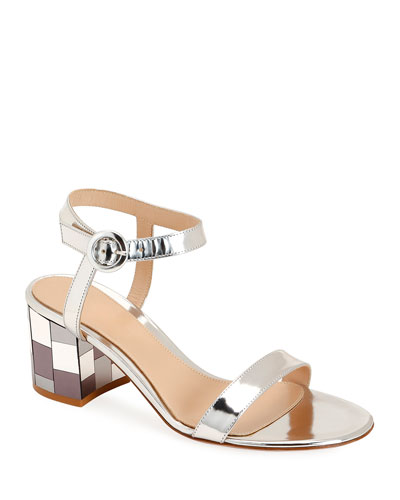 Mirrored Block-Heel Metallic Sandals