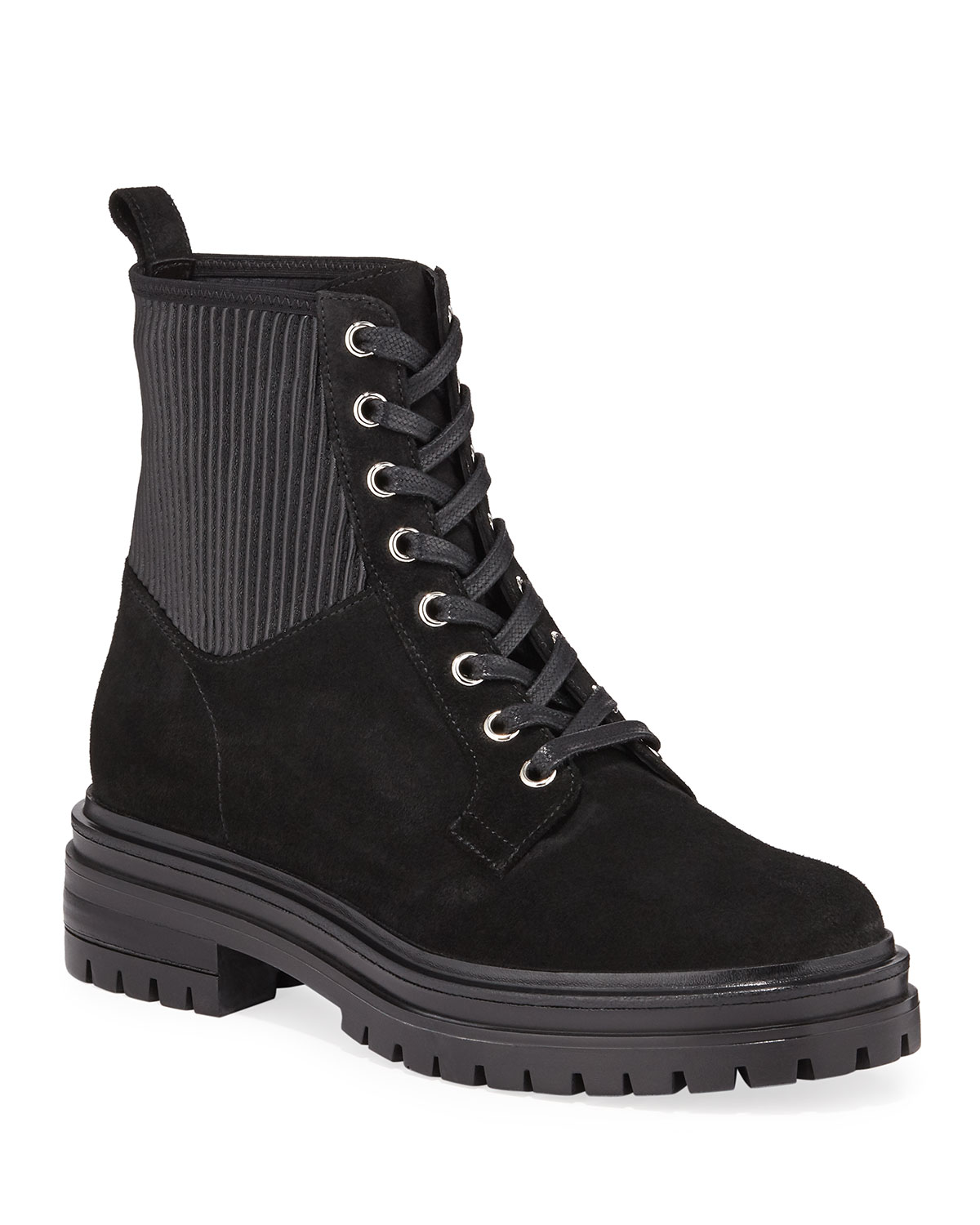 Suede Lug-Sole Combat Booties