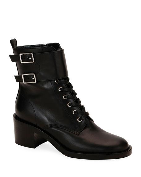 Gianvito Rossi Lagarde Calf Leather Side-Zip Combat Booties