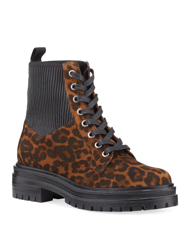 Leopard-Print Suede Combat Booties
