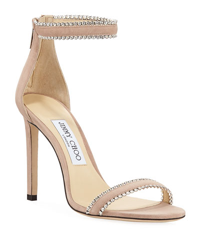 Dochas Jeweled Ankle-Strap Sandals