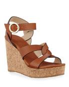 Jimmy Choo Aleili Vachetta Leather Cork Wedge Sandals