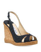 Jimmy Choo Amely Denim Cork Wedge Sandals
