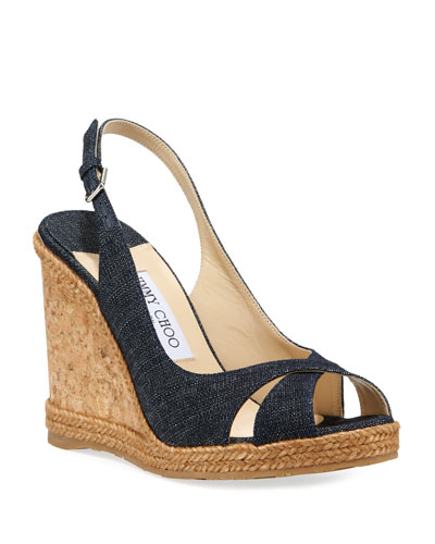 Amely Denim Cork Wedge Sandals
