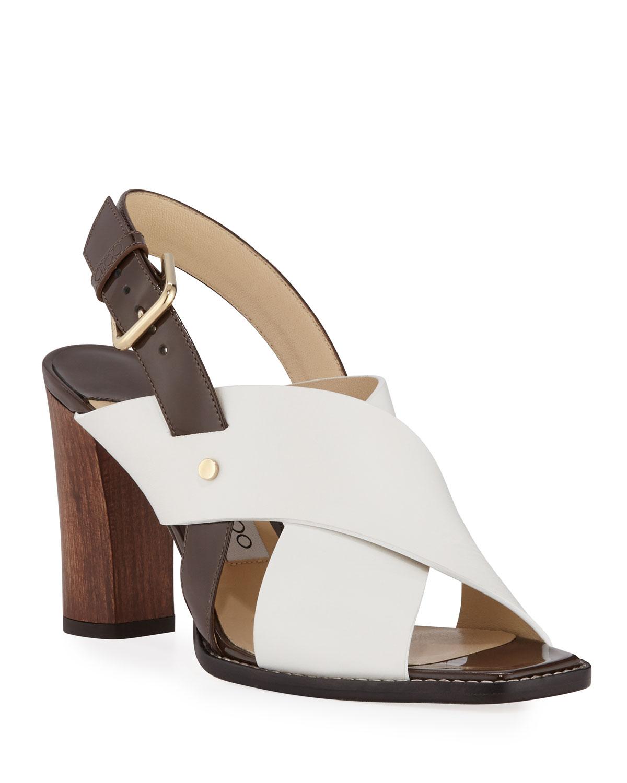 Aix Wooden-Heel Vachetta/Patent Slingback Sandals