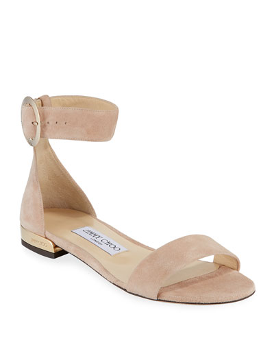 Jaime Suede Ankle-Strap Flat Sandals