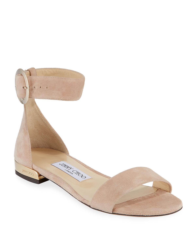 Jaime Suede Ankle-Strap Flat Sandals