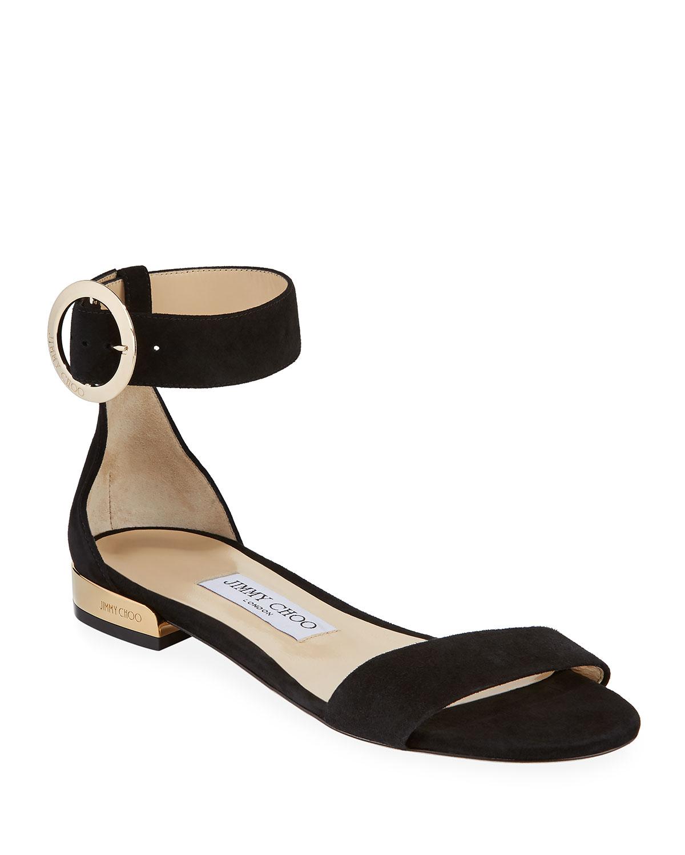 Jaime Flat Suede Ankle-Strap Sandals