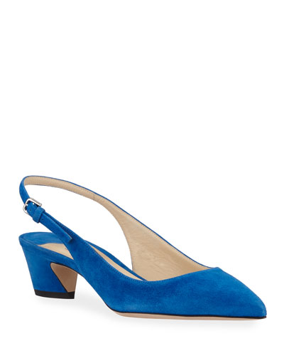 Gemma Low-Heel Suede Slingback Pumps