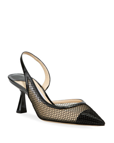 Fetto Mesh Cap-Toe Slingback Pumps