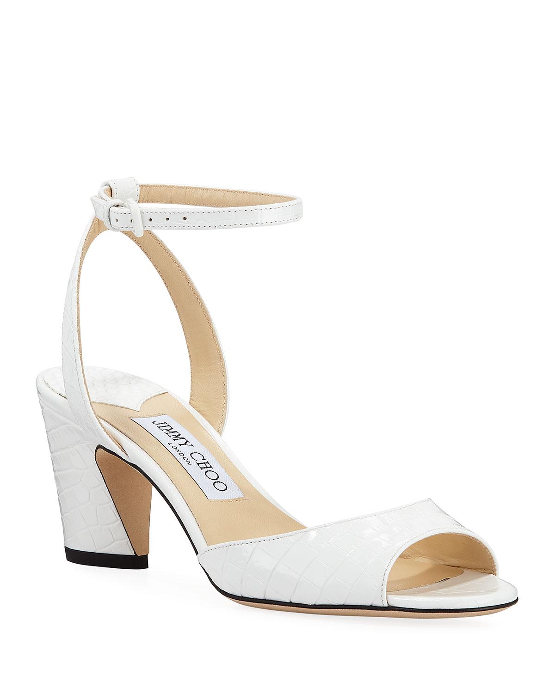 Miranda Croc-Embossed Ankle-Strap Sandals, White