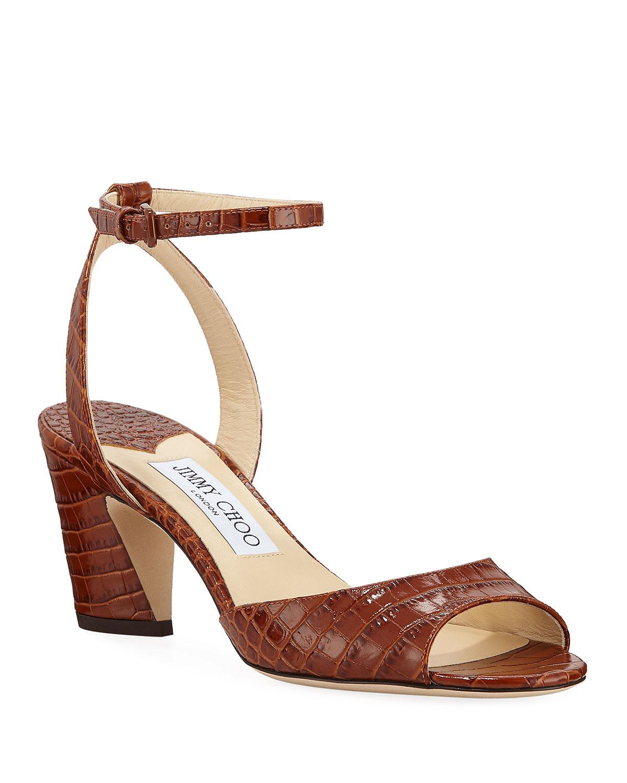 Miranda Croc-Embossed Ankle-Strap Sandals, Brown