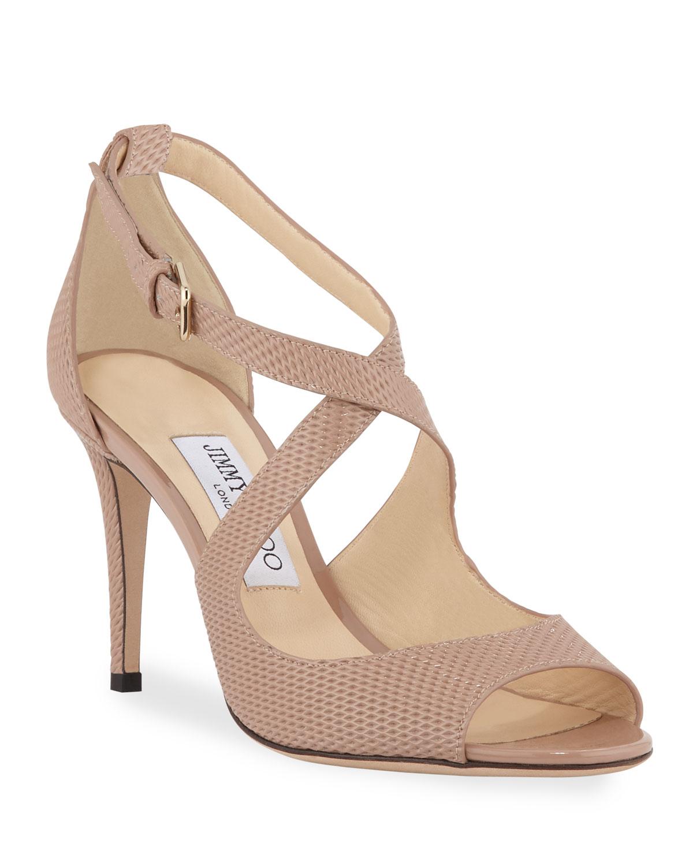 Emily Net-Embossed Patent Sandals