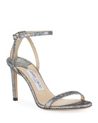 Jimmy Choo Minny Iridescent Leather Strappy Sandals