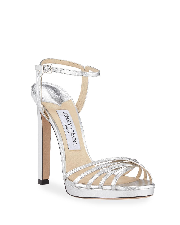 Lilah Metallic Leather High-Heel Sandals