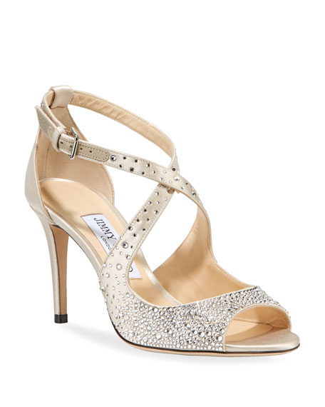 Jimmy Choo Emily Crystal-Embellished Satin Sandals