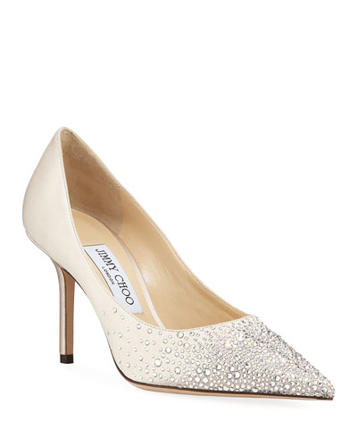 Love Crystal-Sprinkled Satin Pumps