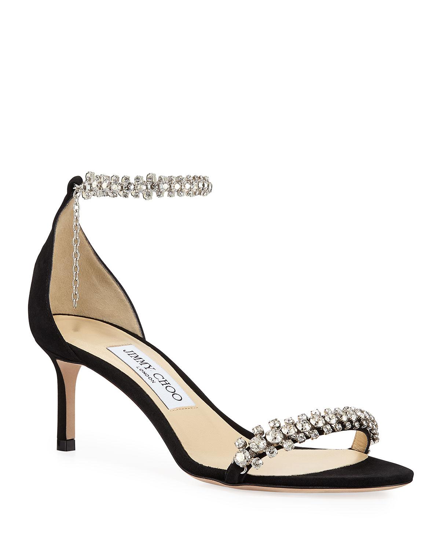 Shiloh Mid-Heel Crystal Anklet Sandals