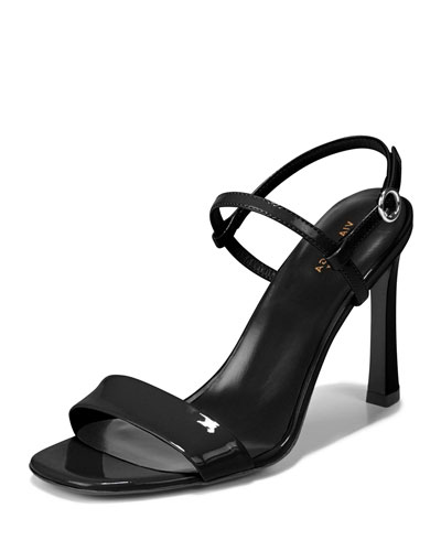 Ren Shiny Leather Sandals, Black