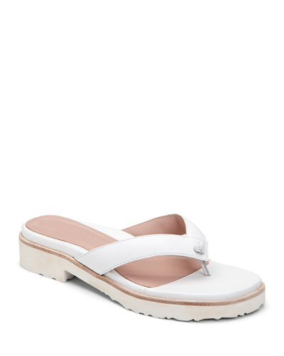 Taziana Leather Thong Sandals