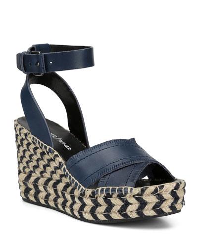 Ines Leather Wedge Espadrille Sandals