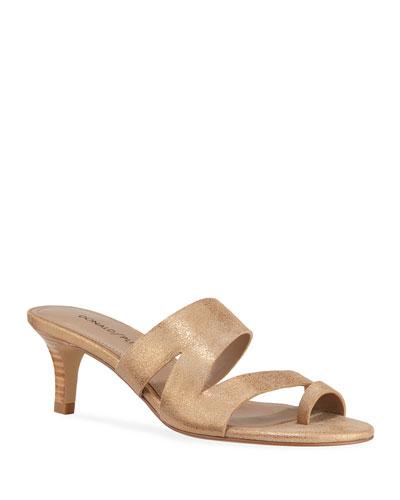 Klarisa Metallic Leather Slide Sandals