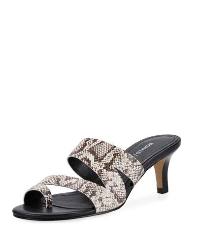 Klarisa Asymmetric Embossed Slide Sandals