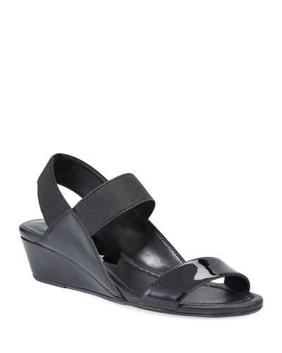 Elsie Patent/Napa Demi-Wedge Sandals