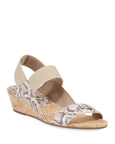 Elsie Embossed Demi-Wedge Sandals