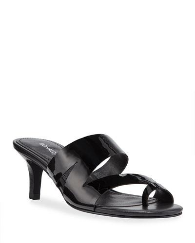 Klarisa Asymmetric Patent Slide Sandals