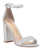 Sam Edelman Yaro High-Heel Glittered Mesh Sandals