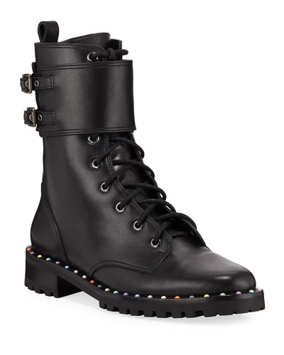 Bessie Stud-Trim Leather Combat Boots